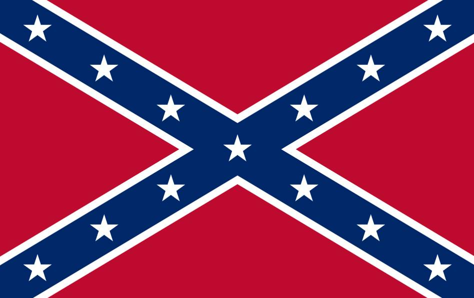 """Confederate Rebel Flag"" by William Porcher Miles (1822-1899)(Vector graphics image by Crotalus horridus)This vector image was created with Inkscape. - SVG adapted from this image. Licensed under Public Domain via Commons - https://commons.wikimedia.org/wiki/File:Confederate_Rebel_Flag.svg#/media/File:Confederate_Rebel_Flag.svg"